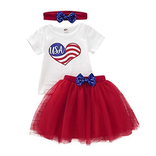 Girls Clothes Set White USA Flag T Shirt