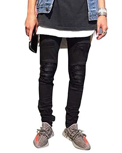 Moda Fit Da Uomo Vintage Nero Slim Skinny Moderna Casual Strappati Pantaloni Jeans VSMpzU