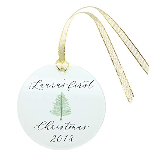 Personalized Baby's First Christmas Ornament 2018-Handwritten Handmade Watercolor on Frosted Glass with Gold Ribbon-GIFT-WRAPPED-Newborn Present-Baby Shower-Pregnancy-Expecting (Personalised Tree)
