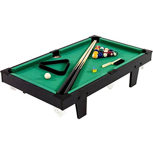 Mini Billardtisch, Maße: 92 cm (L) x 52 cm (B) x 19 cm (H), inkl. 2 Queues, Kugelsatz, Dreieck, Kreide, Gewicht: ca. 8 kg, Pool Billiard Poolbillard Tischbillard Billard Tisch