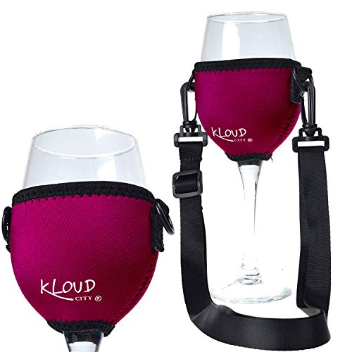 KLOUD City Assorted Colors Wine Glass Insulator / Drink Holder / Neoprene Sleeve with Adjustable Neck Strap For Wine Walk (wine red) -