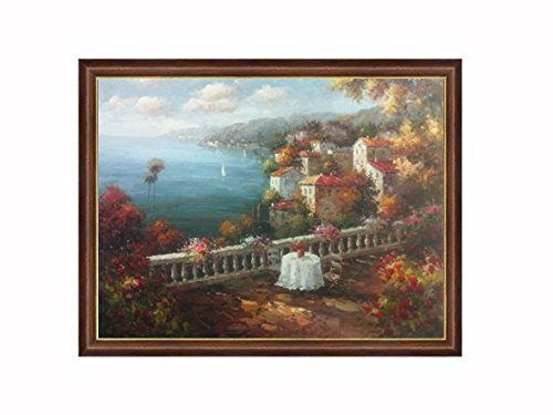 Hand Painted Impressionist Oil Painting on Canvas of Mediterranean Seascape with a Rustic Italian Villa Town (36 X 48) Framed (53.25