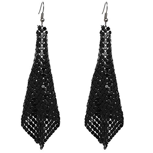 Rectangle Clip on Dangle Lightweight Mesh Tassel Sequin