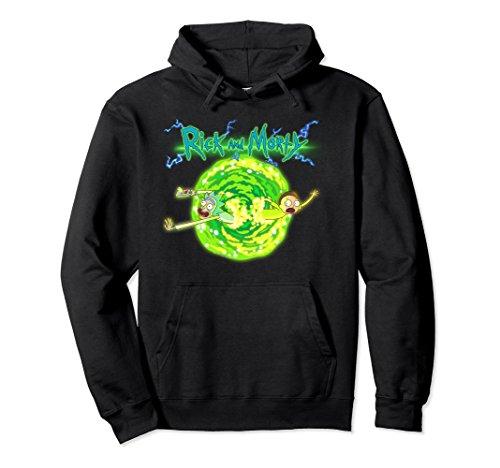 Unisex Rick & Morty Portal Glow Lightning Logo Pullover Hoodie Large Black
