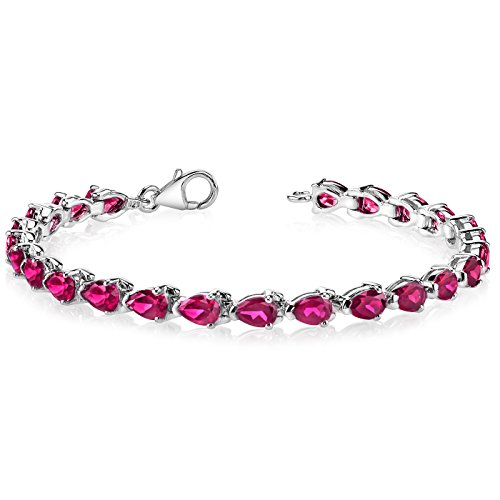 Created Ruby Bracelet Sterling Silver Pear Shape 9.50 Carats