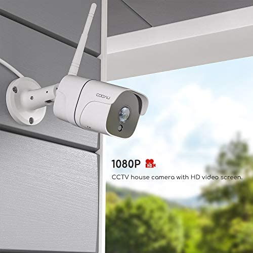 Outdoor Security Camera, COOAU Wireless WiFi Home IP Surveillance Camera with 1080P, IP66 Waterproof, 30m IR Night Vision, 2-Way Audio, Remote View, Work with Alexa - iOS, Android, PC