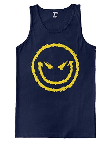 Evil Smiley - Funny Badass Emoticon Men's Tank Top (Navy, Small) -
