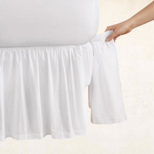 Cotton Detachable Bedskirt (Gathered 18 Inch Detachable Bedskirt ( Queen, White ))