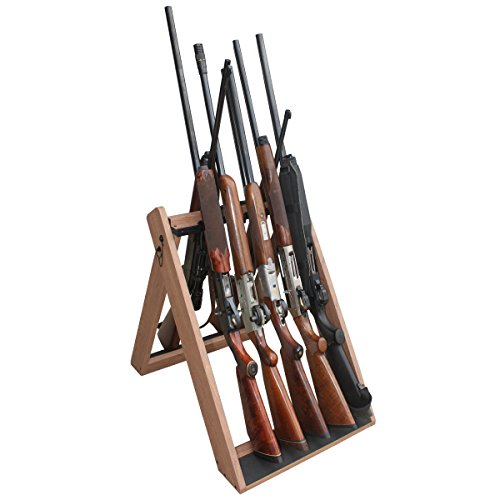 Wall Mounted Gun Rack - Rush Creek Creations Deer Camp Portable Folding 10 Gun Storage Rack - Handcrafted Weather Proof Material - Easy to Assembly