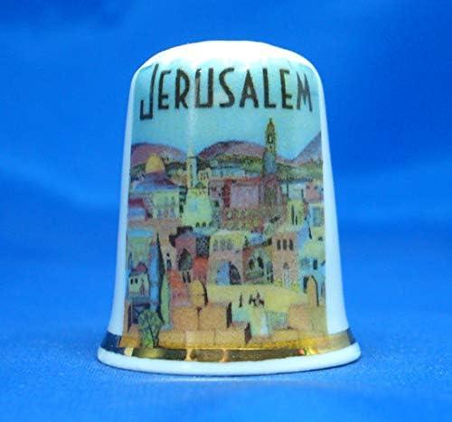 Travel Poster Series Birchcroft China Thimble Free Gift Box Jerusalem