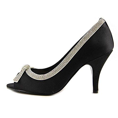 Caparros Womens Lueur Peep Toe Chaussures Classiques Noir Satin
