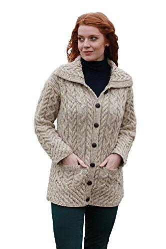 (Long Chunky Wool Aran Knit Cardigan with Collar (X-Small, Skiddaw))