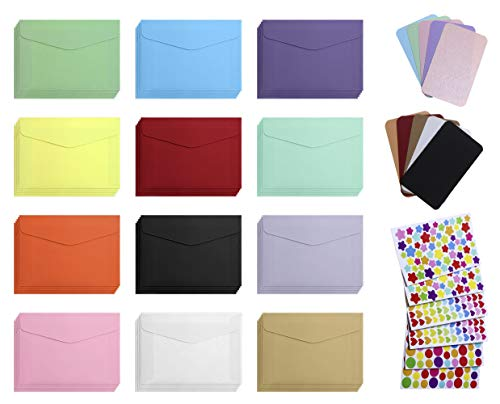 (Mini Envelope with Cards 60Pcs Color Mini Gift Card Envelope 60Pcs Business Blank Color Mini Notes Cards with 6Pcs Color Heart Dot Star Stickers for Christmas Wedding Birthday Party (Envelope + Cards) )