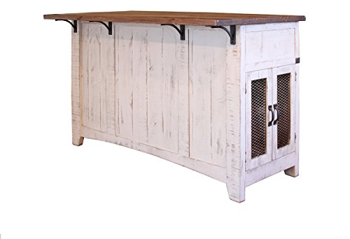 Anton Farmhouse Solid Wood Distressed White Sliding Barn Door Kitchen Island With Storage And Rolling Casters by BurlesonHomeFurnishings (Image #1)