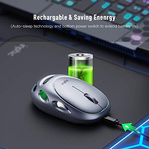INPHIC Mouse Wireless Ricaricabile e Silenzioso Mouse Senza Fili USB 2.4G con Luce respiratoria Colorata a LED, Corpo in Lega,Dorso Cavo, 800/1200/1600 DPI per PC Computer Laptop Mac, Argento