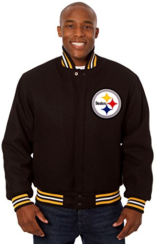 Pittsburgh Steelers Men's Wool Jacket with Embroidered Applique Team Logos (X-Large) (Browns Family Decal compare prices)