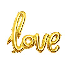 """Excellent.advanced® 42.5 Inch Long Giant Romantic Wedding Bridal Shower Anniversary Engagement Party Decoration Vow Renewal Love Foil Balloon Banner- """"Love"""" Hand-writing style Celebration Balloon"""