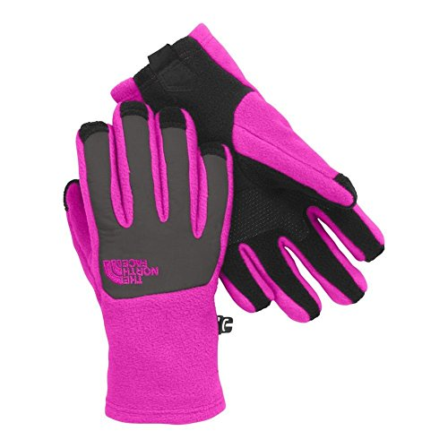 (The North Face Denali Etip Glove Girls' Luminous Pink/Graphite Grey Small)