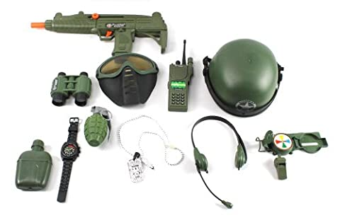 Special Combat '570 Force Army Friction Toy Gun Complete Combo Set w/ Friction Uzi Toy Gun, Toy Mask, Helmet, Binoculars, Watch, Whistle, Walkie Talkie, Grenade, Compass, Dog Tags, Headset, (Canteen Combo)