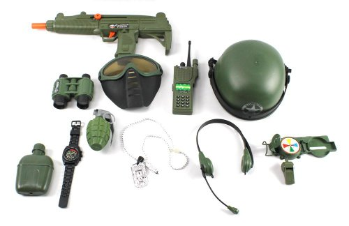 - Special Combat '570 Force Army Friction Toy Gun Complete Combo Set w/ Friction Uzi Toy Gun, Toy Mask, Helmet, Binoculars, Watch, Whistle, Walkie Talkie, Grenade, Compass, Dog Tags, Headset, Canteen