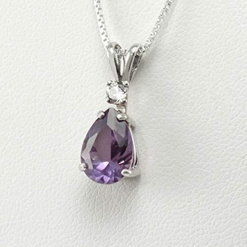 Color-Changing Alexandrite Necklace Sterling Silver With Diamond Accent/June Birthstone