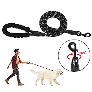 SlowTon Dog Lead, 5FT Training Leash Pet Rope Leash with Soft Padded Safety Control Handle and High Reflective Threads… Click on image for further info.