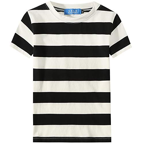Black And White Striped Shirt Halloween Costume (SSLR Big Boy's Cotton Crewneck Casual Short Sleeve Stripe T-Shirt (X-Small(6), Black)