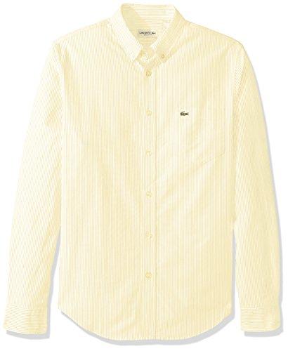 Lacoste Men's Long Sleeve Reg Fit Oxford Bengal Stripe Woven Shirt, CH2293, Yellow/White, M - Multi Stripe Woven Shirt