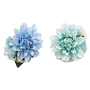 Abbie Home Boutonniere Wrist Corsage Set for Prom Wedding Party Dahlia Flower Decoration-Blue 2