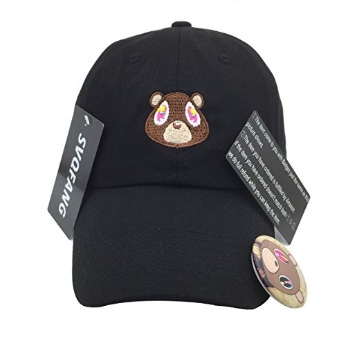 [Kanye West Bear Hat Dad Hat Strap Back Costume Head Men Women New (Black)] (Womens Baseball Costumes)