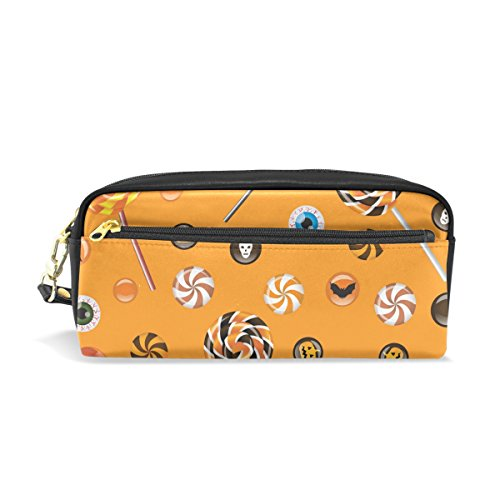 ColourLife Halloween Lolly Leather Zipper Pencil Case Holder Makeup Cosmetic Bags for Men Women Kids -