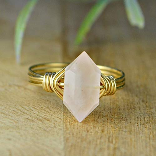 Champagne Crackle Gold Wire Wrapped Ring