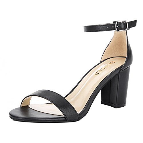 Eunicer Women's Single Band Classic Chunky Block High Heel Sandals with Ankle Strap Dress Shoes (Half Size Large) (8 B(M) US, A-Black PU)