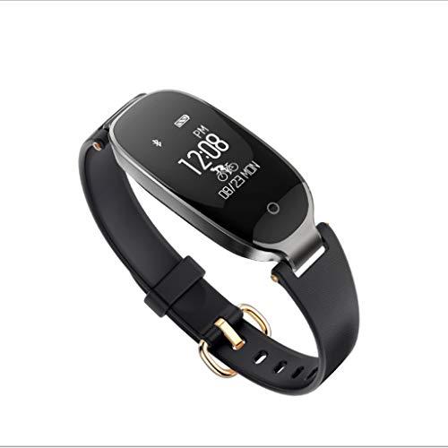 QAR Smart Bracelet Heart Rate Counter Step Bluetooth Sports Wear Bracelet Depth Waterproof Smart Watch (Color : Black)