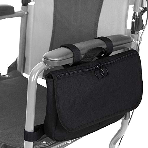 Vive Wheelchair Carry Bag - Arm Rest Pouch for Rollator, Walkers, Power Wheel Chairs and Knee Scooters - Side Storage Organizer for Elderly, Seniors, Adults - Lightweight and Heavy Duty Travel Tote