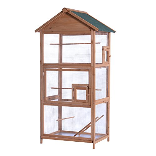 MCombo 70inch Outdoor Aviary Bird Cage Wood Vertical Play House Pet Parrot Cages with Stand 0011 ()