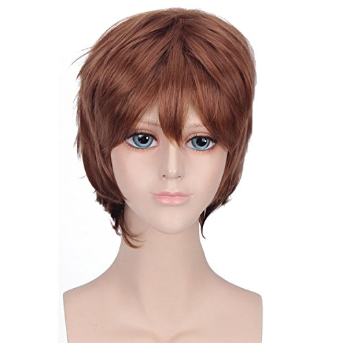 Men Boy Cool Fashion Short Cosplay Hair Wig for Cosplay Costume Masquerade Party Halloween Light Brown -