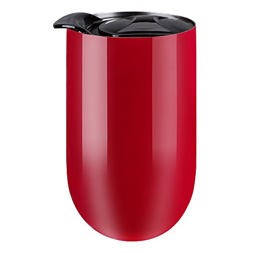Wine Glass Tumbler, Kepooman 18 oz Double Wall Vacuum Insulated Stemless Wine Glass Stainless Steel Tumbler Cup with Lid for Red Wine, Cocktail, Liquors and Nonalcoholic Beverages Gloss Merlot (Cocktail Tumbler Glass)