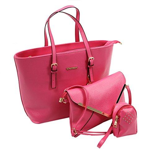 SODIAL Bolso simple clasico de Tres piezas Bolso de mensajero Bolso de Hombro Bolso cruzado del cuerpo para Mujer rojo rosa rojo rosa