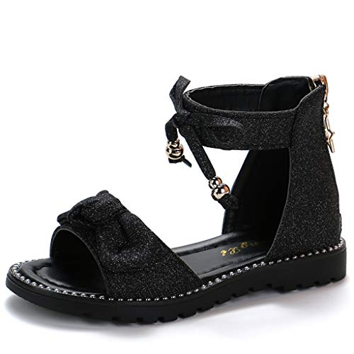 Wenysy Children Baby Child Baby Girl Summer Cute Bow Bling Glitter Sequin Princess Shoes Zipper Roman Sandals(Black,35)