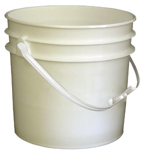 Vestil PAIL-35-PWP Plastic Open Head Pail with Handle, 3.5 gallon Capacity, White (Case of 1)