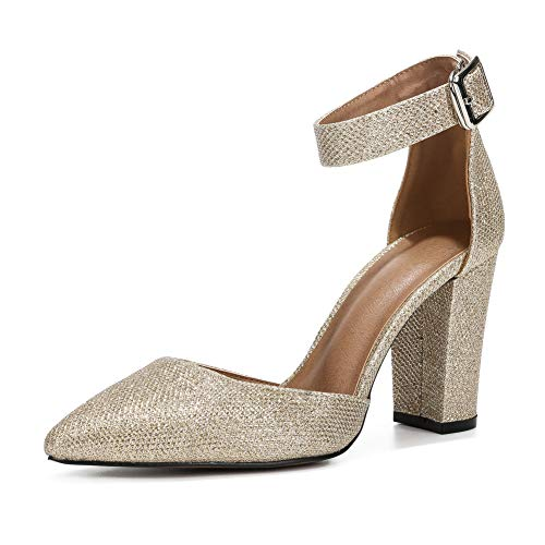 (Women's Elegant D'Orsay Ankle Strap Pointed Toe Pumps Block Chunky High Heel Shoes Gold)