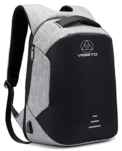 Vebeto Anti Theft Backpack USB Charging Port 15.6 Inch Laptop Backpack College Waterproof Bag