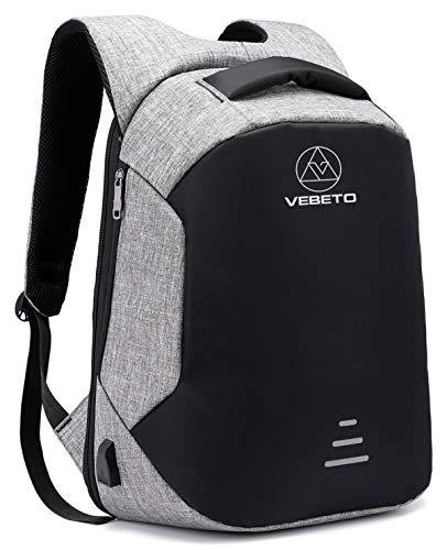 Vebeto Anti Theft Backpack USB Charging Port 15.6 Inch Laptop Backpack College Waterproof Bag