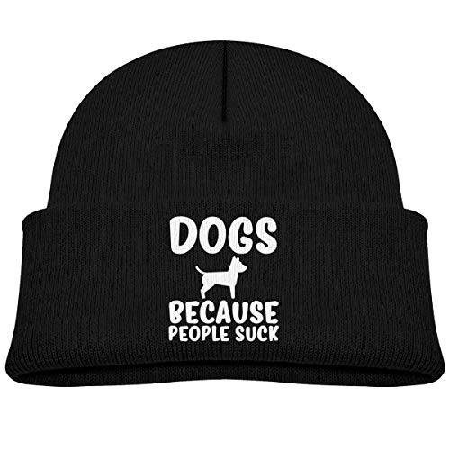 (QKBUY Dogs Because People Suck Beanie Caps Knit Hat Baby White)