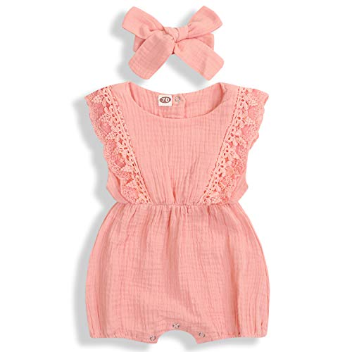 KCSLLCA Baby Girls Lace Romper Set Ruffle Sleeve Solid Color Onesie with Headband (Light Watermelon Pink, 9-12 Months) (Infant Girls Pink Romper)