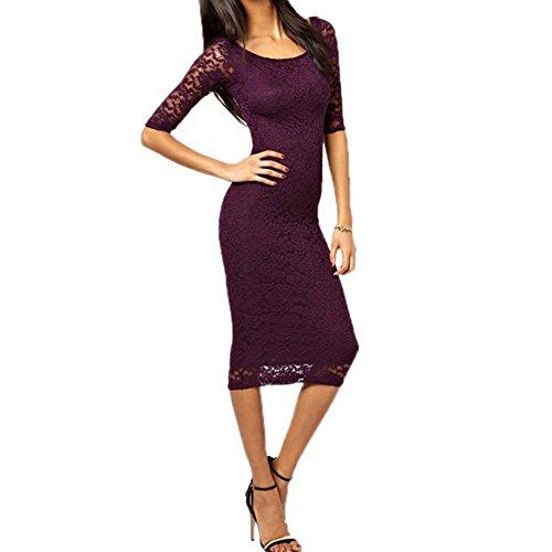 Janecrafts Women's Elegant Bodycon 2/3 Sleeves Lace Overlay Prom Evening Midi Dress