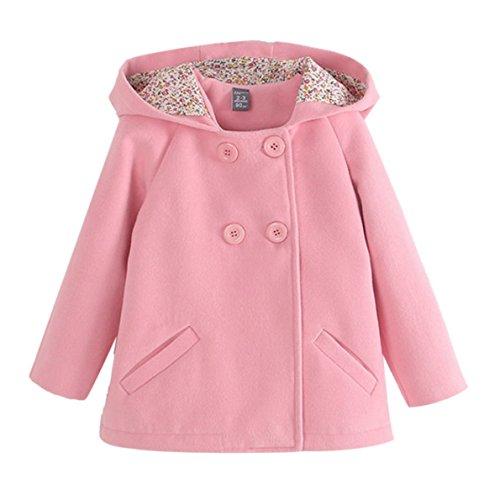 - Happy Cherry Children Girls Double Breasted Jacket Hood Woolen Overcoat Wool Winter Warm Coat Pink 7-8T
