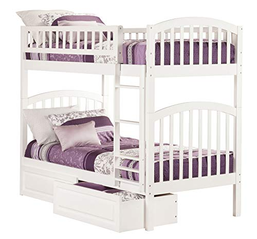 Atlantic Furniture AB64122 Richland Bunk Bed with 2 Raised Panel Bed Drawers, Twin/Twin, White