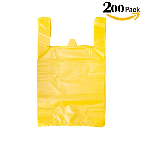 LazyMe 12 x 20 inch Plastic Thick Yellow T Shirt Bags, Handle Shopping Bags, Multi-Use Large Size Merchandise Bags, Yellow Plain Grocery Bags, Durable (200, Yellow) (20 Plastic Shopping Bags)